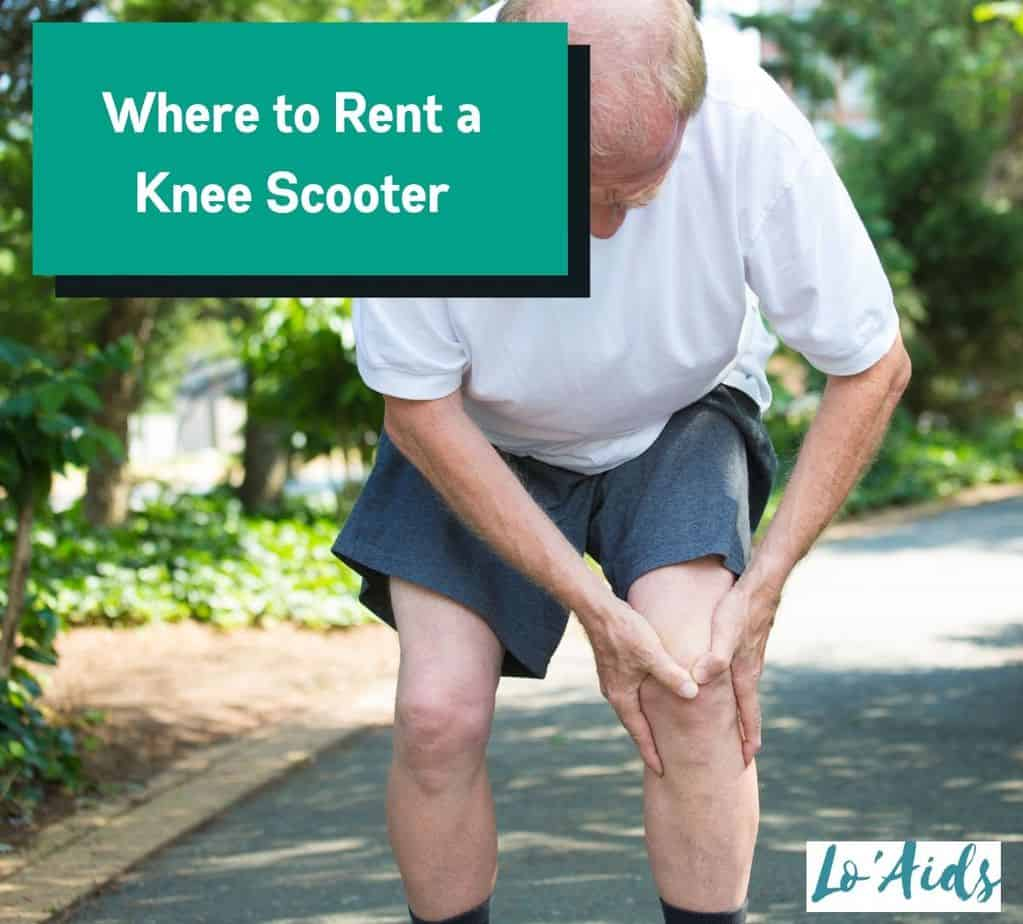 senior man holding his aching knee: where to rent a knee scooter for him?