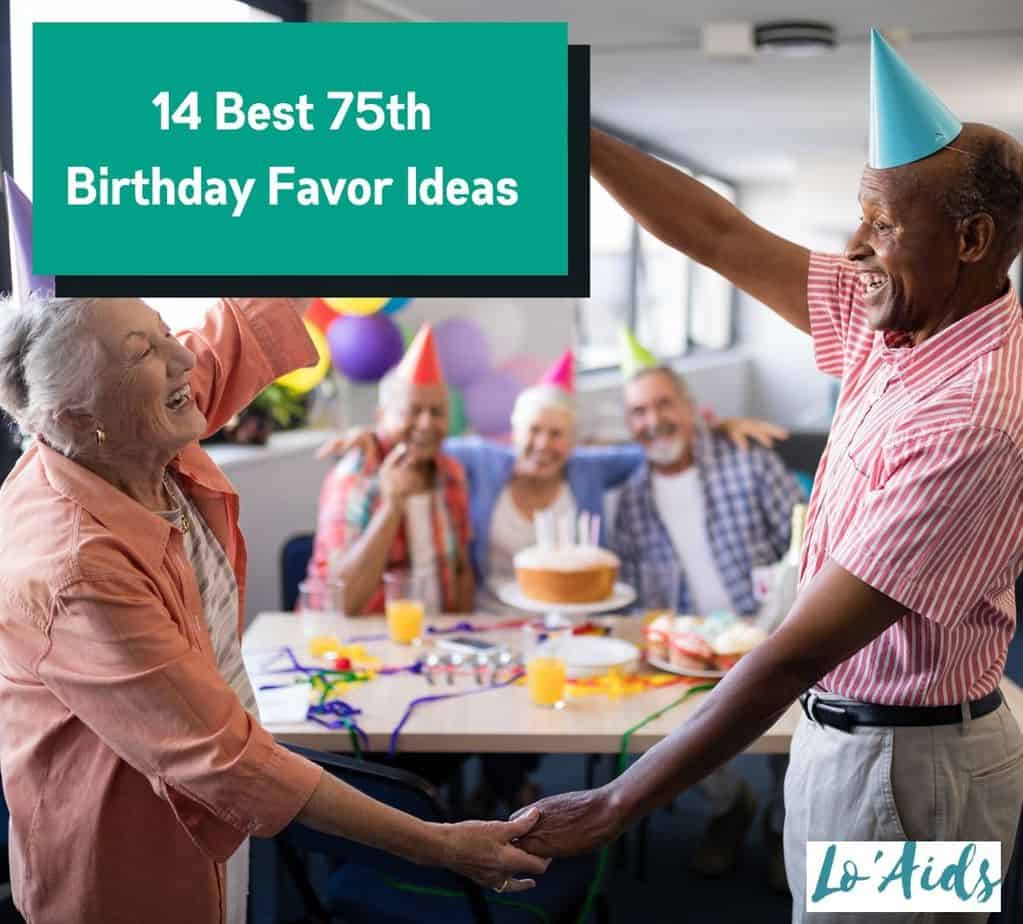 senior woman celebrating and giving away 75th birthday favor ideas
