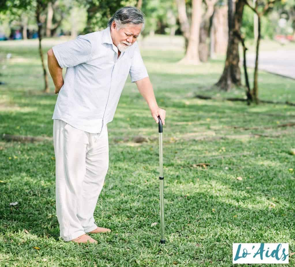 senior with backpain